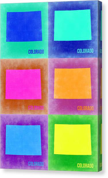 Colorado Canvas Print - Colorado Pop Art Map 3 by Naxart Studio
