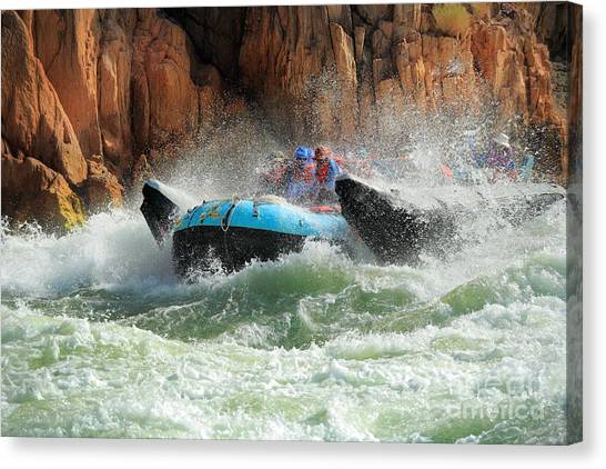 Splashy Canvas Print - Colorado River Rafters by Inge Johnsson