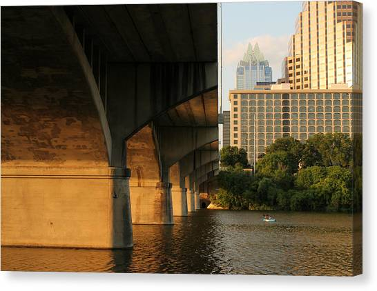 Colorado River Running Under Congress Street Bridge In Austin Texas Canvas Print