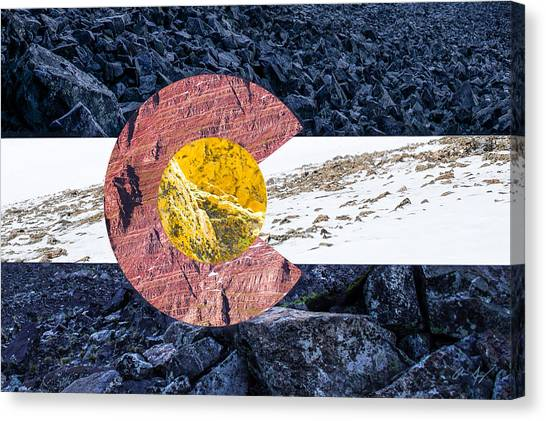 Rocky Mountain Canvas Print - Colorado State Flag With Mountain Textures by Aaron Spong