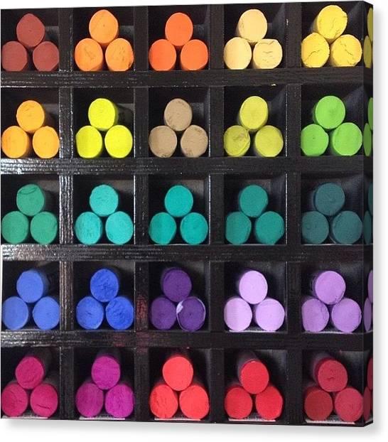 Supplies Canvas Print - Rainbow Chalk by CheezPleaz