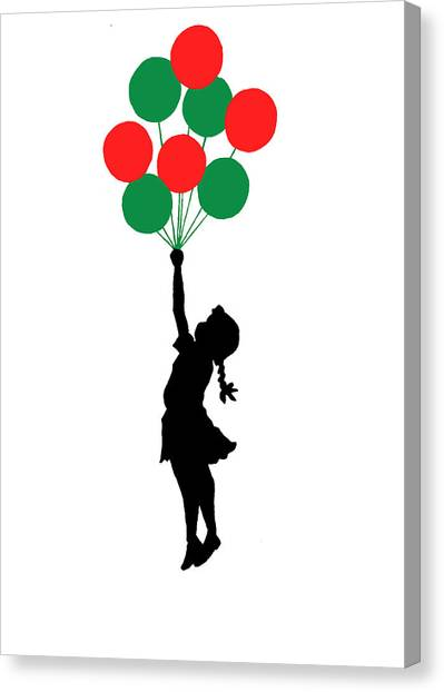 Oppression Canvas Print - Colored Balloons Girl by Munir Alawi