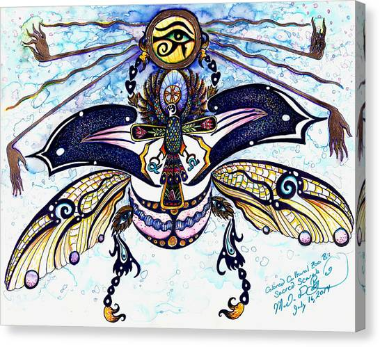 Colored Cultural Zoo B Sacred Scarab Canvas Print