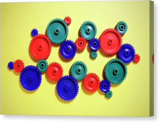 Colored Gears Canvas Print by Joseph Clark