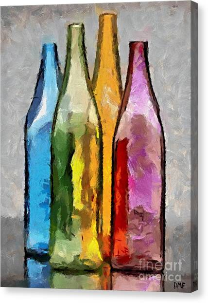 Colored Glass Bottles Canvas Print
