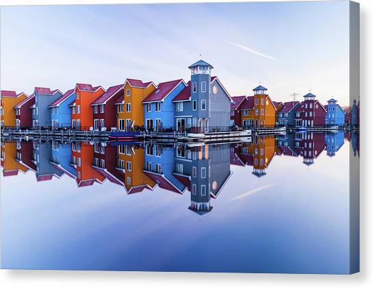 Marinas Canvas Print - Colored Homes by Ton Drijfhamer