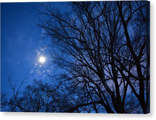 Colored Hues Of A Full Moon Canvas Print by Bill Helman