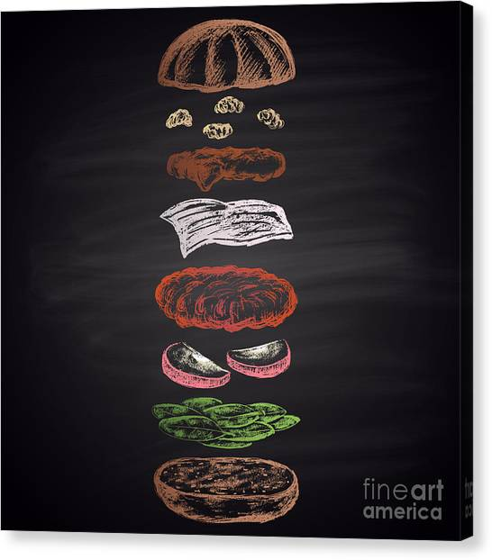 Ingredient Canvas Print - Colored Illustration Of Chalk Drawn by Anat om