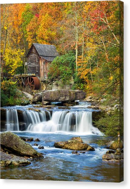 Colorful Autumn Grist Mill Canvas Print