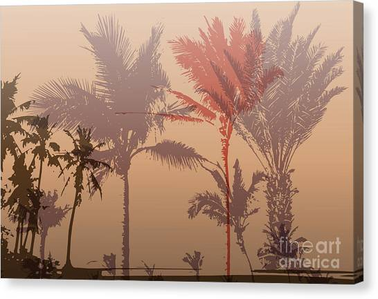 Sun Canvas Print - Colorful Background With Silhouette Of by Romas photo