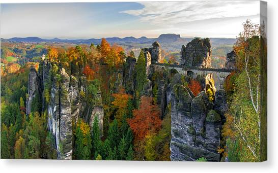 Colorful Bastei Bridge In The Saxon Switzerland Canvas Print
