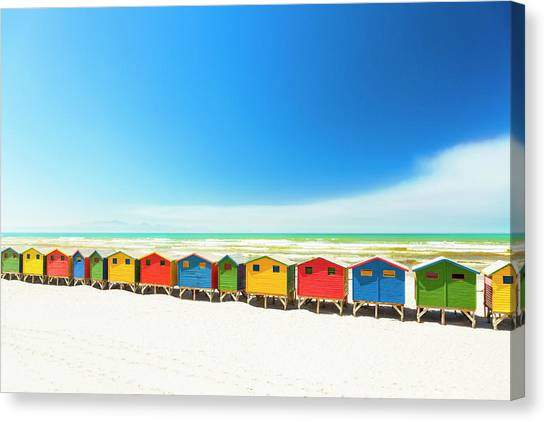 Colorful Beach Houses In Muizenberg Canvas Print by Spooh