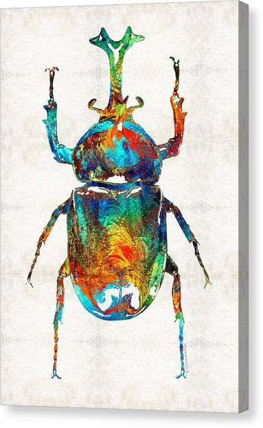 Egyptian Canvas Print - Colorful Beetle Art - Scarab Beauty - By Sharon Cummings by Sharon Cummings