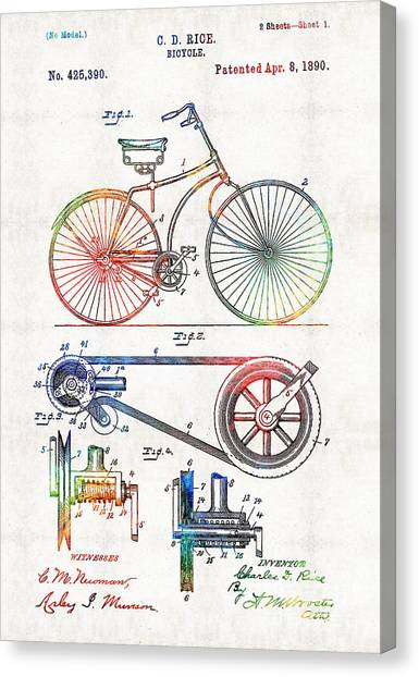 Bicycle Canvas Print - Colorful Bike Art - Vintage Patent - By Sharon Cummings by Sharon Cummings