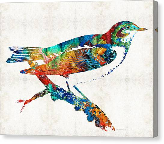 Canaries Canvas Print - Colorful Bird Art - Sweet Song - By Sharon Cummings by Sharon Cummings