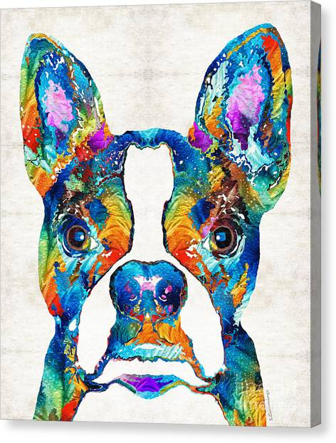 Animals Canvas Print - Colorful Boston Terrier Dog Pop Art - Sharon Cummings by Sharon Cummings