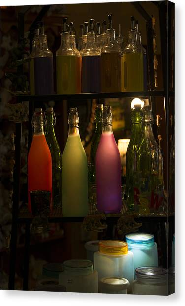 Colorful Bottle Display Canvas Print