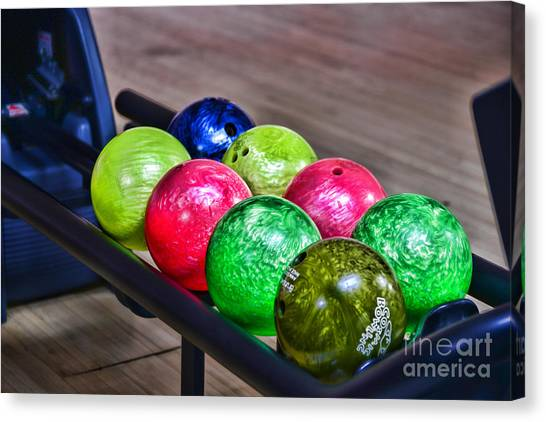 Bowling Shoes Canvas Print - Colorful Bowling Balls by Paul Ward