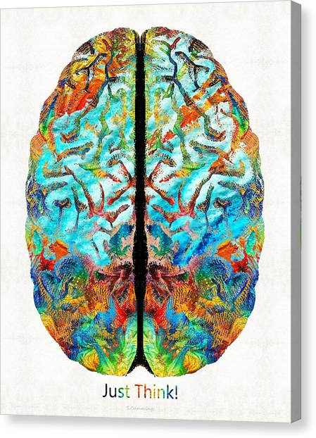 Brains Canvas Print - Colorful Brain Art - Just Think - By Sharon Cummings by Sharon Cummings