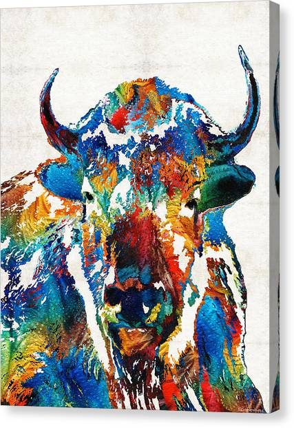 Canvas Print featuring the painting Colorful Buffalo Art - Sacred - By Sharon Cummings by Sharon Cummings