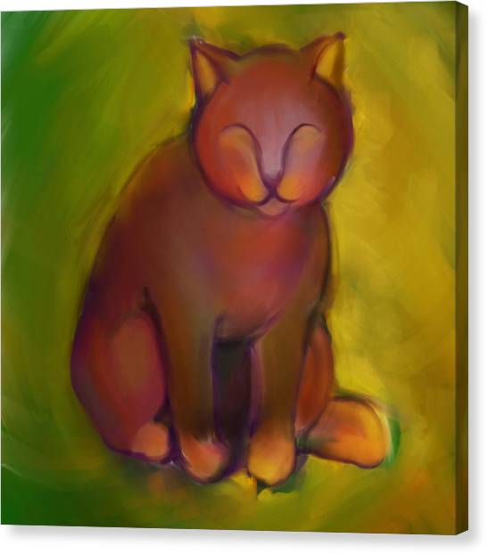 Colorful Cat 2 Canvas Print by Anna Gora