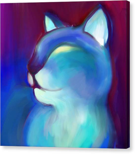 Colorful Cat 3 Canvas Print by Anna Gora