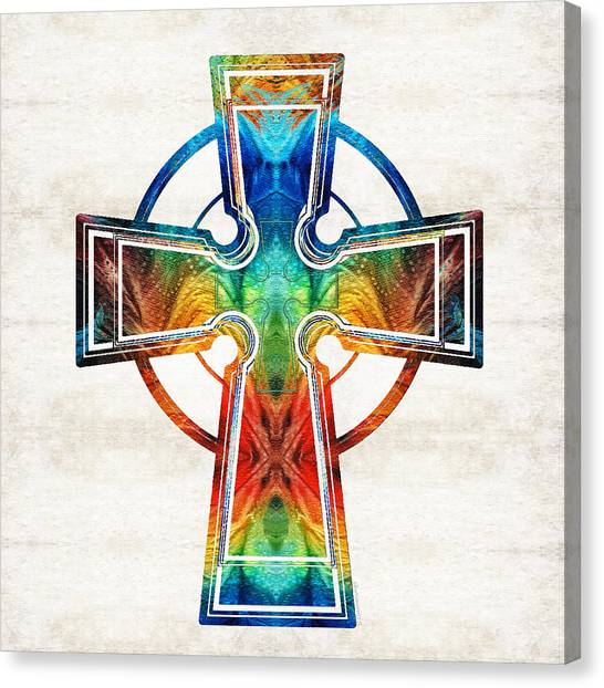 Celtic Art Canvas Print - Colorful Celtic Cross By Sharon Cummings by Sharon Cummings