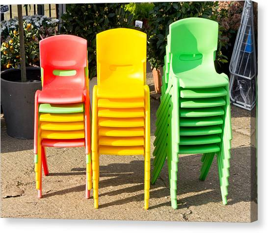 Classroom Canvas Print - Colorful Chairs by Tom Gowanlock