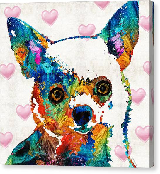 Chihuahuas Canvas Print - Colorful Chihuahua Art By Sharon Cummings by Sharon Cummings