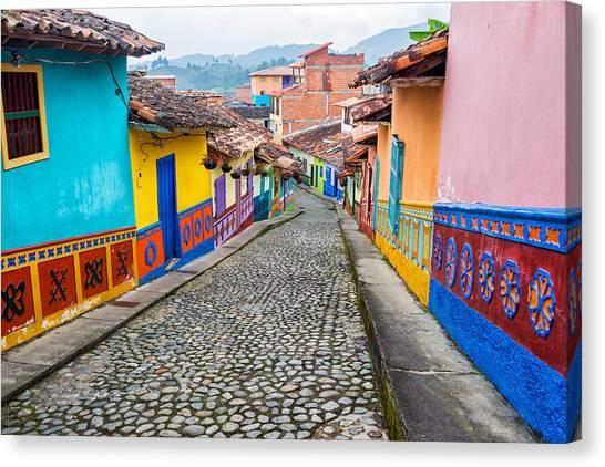 Colombian Canvas Print - Colorful Cobblestone Street by Jess Kraft