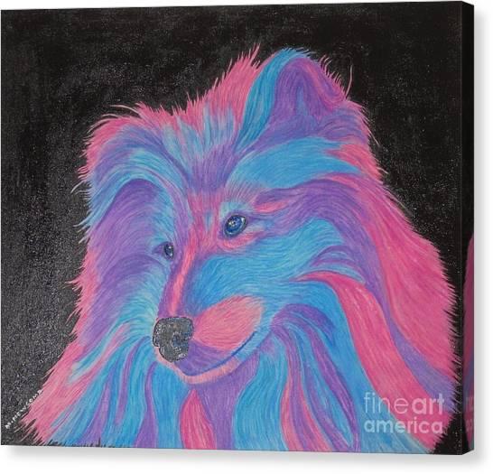 Colorful Collie Water Color Pencil Canvas Print