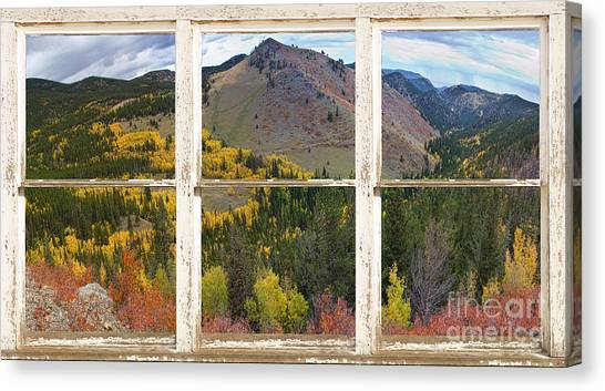 Colorful Colorado Rustic Window View Canvas Print