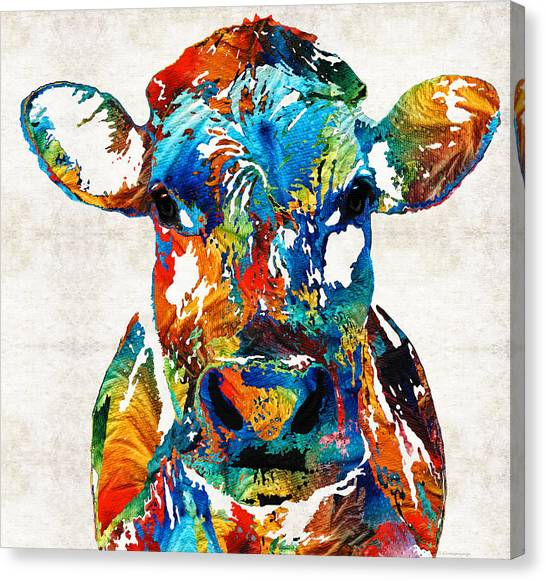 College Canvas Print - Colorful Cow Art - Mootown - By Sharon Cummings by Sharon Cummings