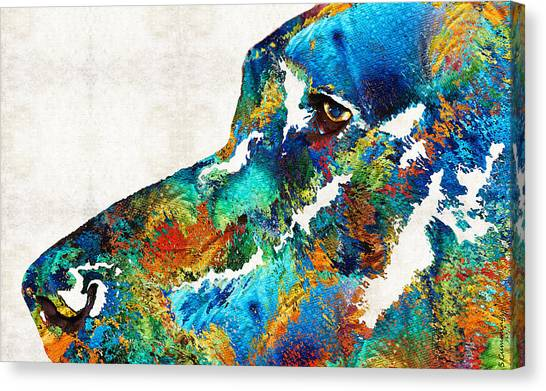 Great Danes Canvas Print - Colorful Dog Art - Loving Eyes - By Sharon Cummings  by Sharon Cummings