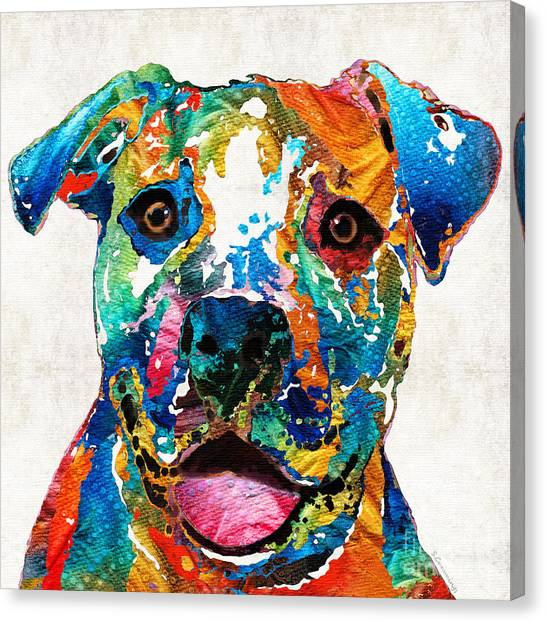 Pit Bull Canvas Print - Colorful Dog Pit Bull Art - Happy - By Sharon Cummings by Sharon Cummings