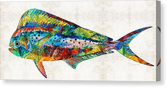 Miami Dolphins Canvas Print - Colorful Dolphin Fish By Sharon Cummings by Sharon Cummings