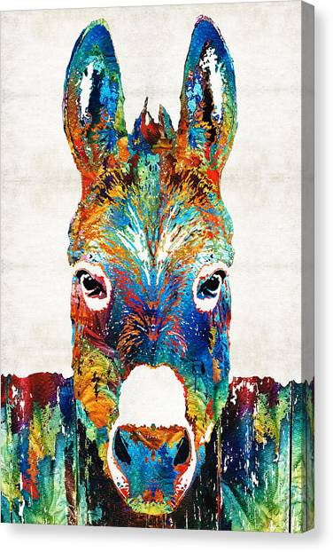 Donkeys Canvas Print - Colorful Donkey Art - Mr. Personality - By Sharon Cummings by Sharon Cummings