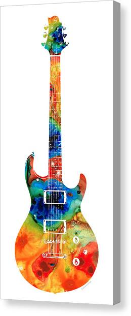 Bass Guitars Canvas Print - Colorful Electric Guitar 2 - Abstract Art By Sharon Cummings by Sharon Cummings