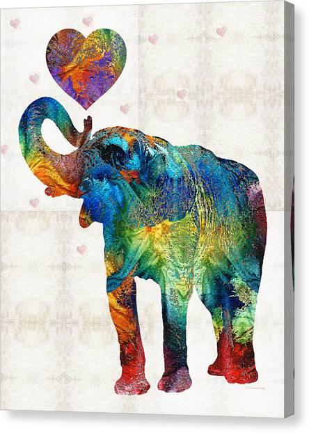 Primary Canvas Print - Colorful Elephant Art - Elovephant - By Sharon Cummings by Sharon Cummings