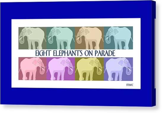 Pastel Elephants On Parade Canvas Print