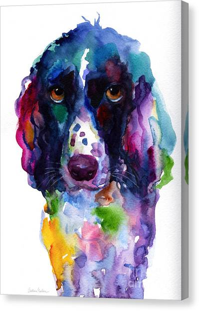 Austin Canvas Print - Colorful English Springer Setter Spaniel Dog Portrait Art by Svetlana Novikova
