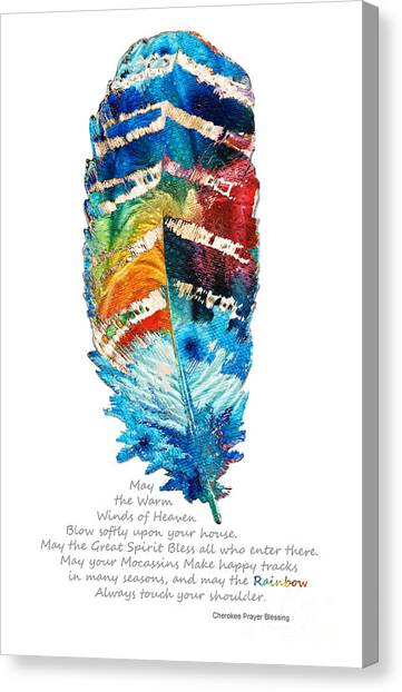 Sacred Canvas Print - Colorful Feather Art - Cherokee Blessing - By Sharon Cummings by Sharon Cummings