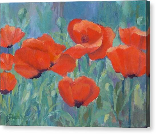 Colorful Flowers Red Poppies Beautiful Floral Art Canvas Print