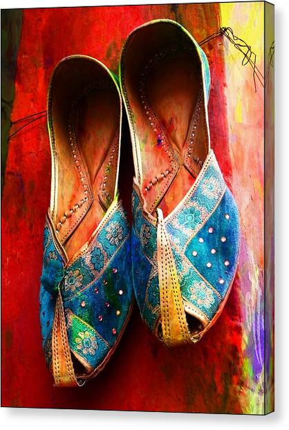 Colorful Footwear Juttis Sales Jaipur Rajasthan India Canvas Print