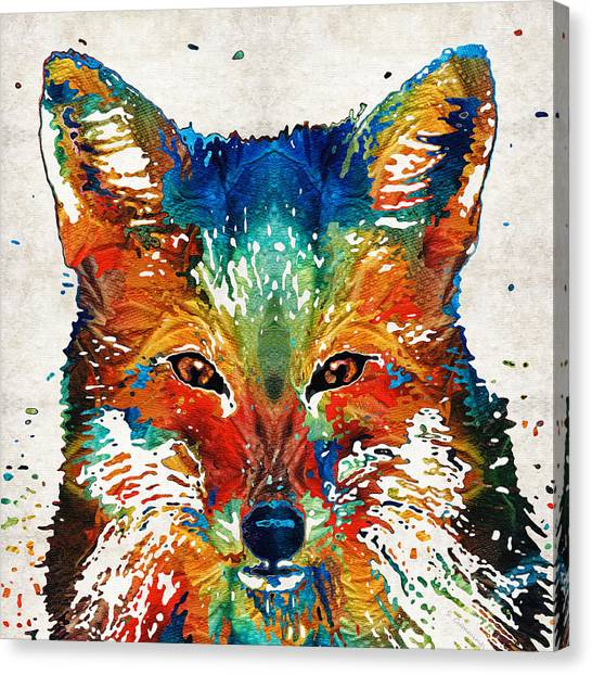Primary Canvas Print - Colorful Fox Art - Foxi - By Sharon Cummings by Sharon Cummings