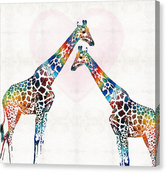 Giraffes Canvas Print - Colorful Giraffe Art - I've Got Your Back - By Sharon Cummings by Sharon Cummings