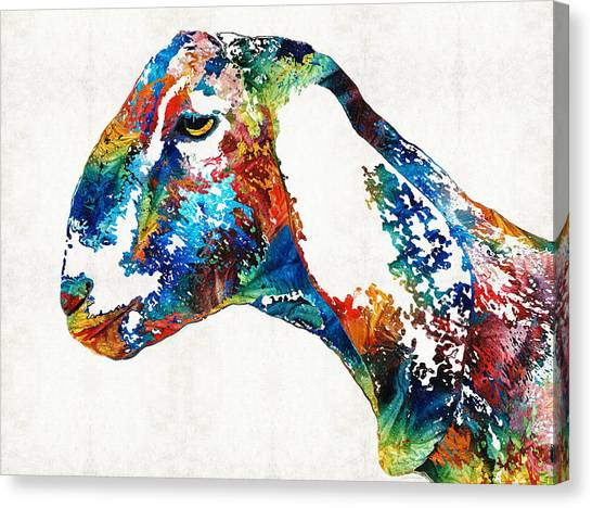 Farm Animals Canvas Print - Colorful Goat Art By Sharon Cummings by Sharon Cummings