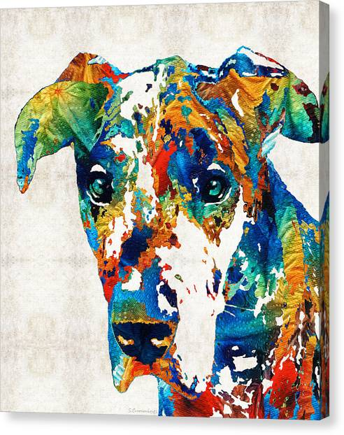 Tongue Canvas Print - Colorful Great Dane Art Dog By Sharon Cummings by Sharon Cummings