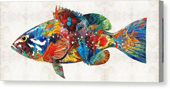 Scuba Diving Canvas Print - Colorful Grouper Art Fish By Sharon Cummings by Sharon Cummings