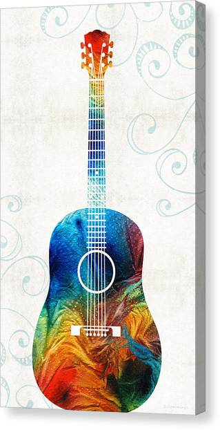 Acoustic Guitars Canvas Print - Colorful Guitar Art By Sharon Cummings by Sharon Cummings